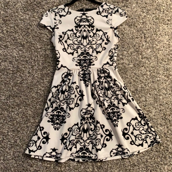 Black and white dress with an A-line silhouette